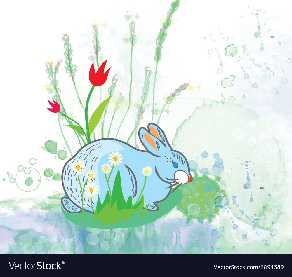 Easter rabbit with flowers background vector | Price: 1 Credit (USD $1)