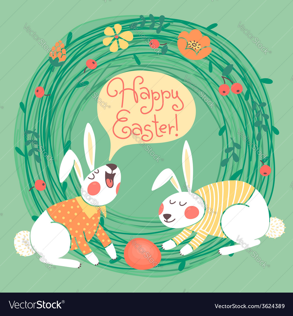 Happy easter card with cute bunnies vector | Price: 1 Credit (USD $1)