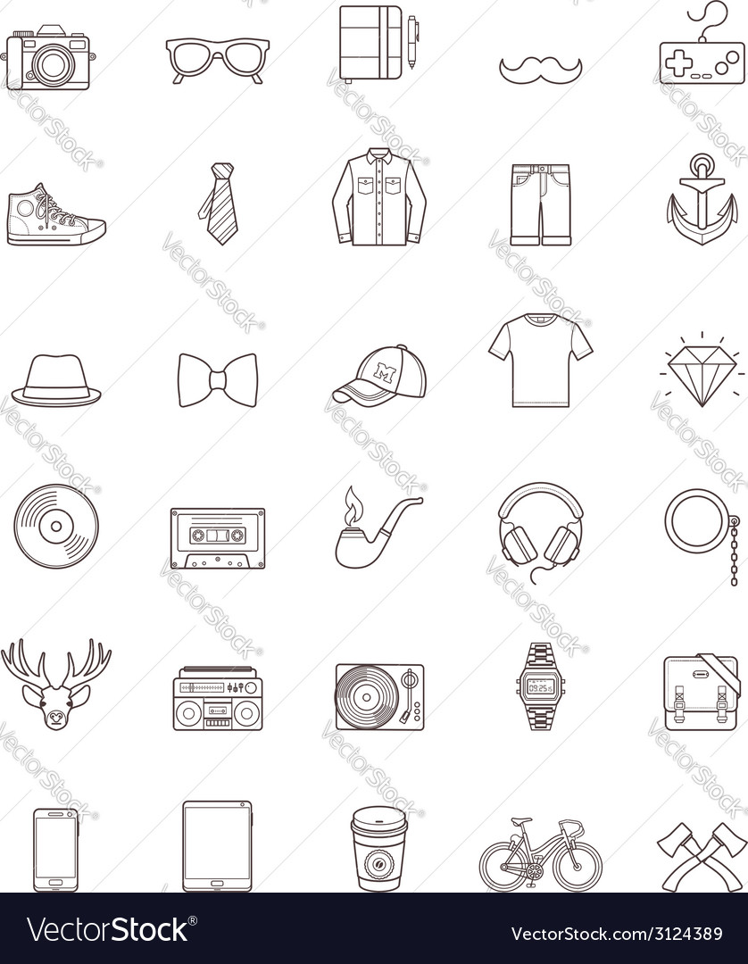 Hipster contour icon set vector | Price: 1 Credit (USD $1)