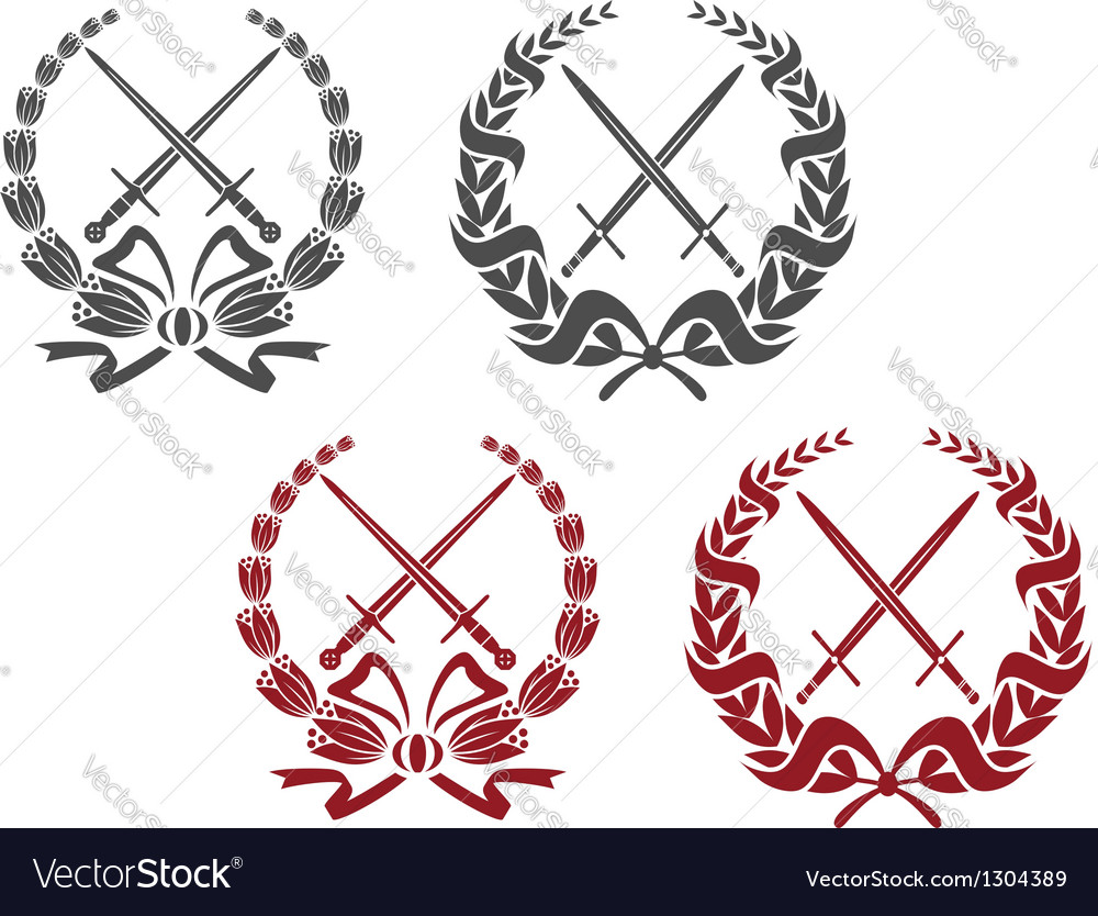 Laurel wreathes with weapon elements vector | Price: 1 Credit (USD $1)