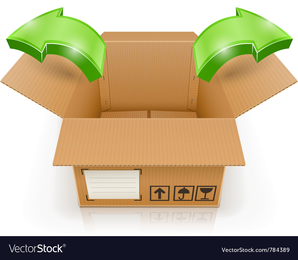 Opened box with arrow outside vector | Price: 3 Credit (USD $3)