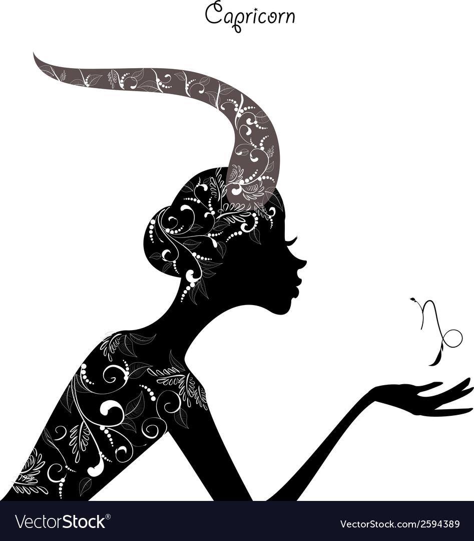 Zodiac sign capricorn fashion girl vector | Price: 1 Credit (USD $1)