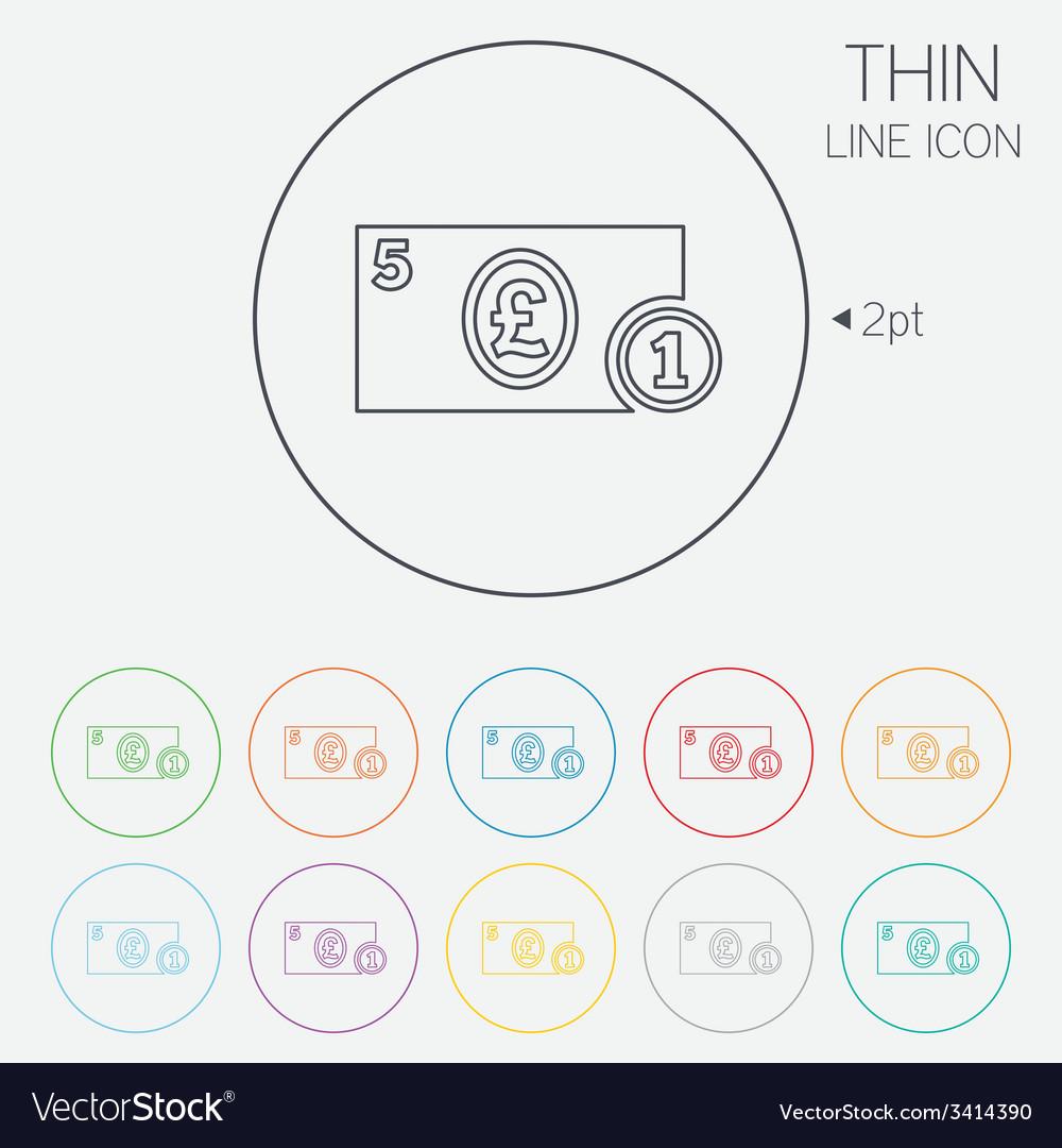 Cash sign icon pound money symbol coin vector | Price: 1 Credit (USD $1)