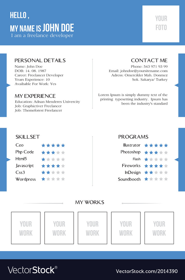Creative blue resume vector | Price: 1 Credit (USD $1)