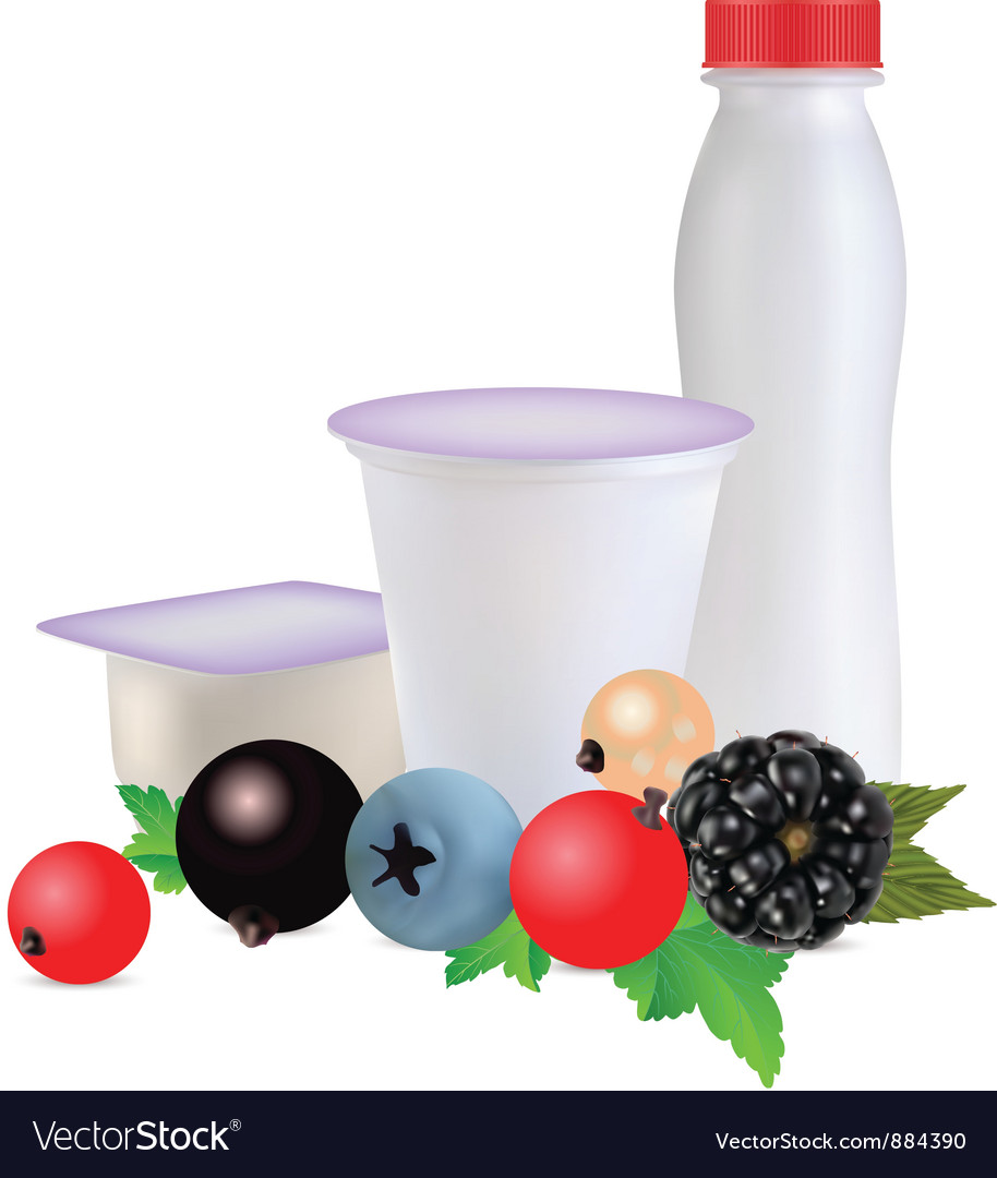 Dairy products with berries vector | Price: 1 Credit (USD $1)