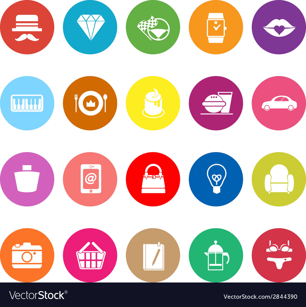 Department store item category flat icons on white vector | Price: 1 Credit (USD $1)