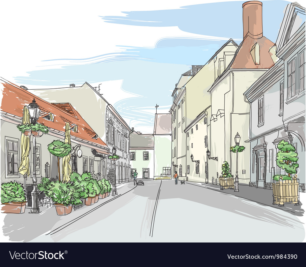 European city street vector | Price: 3 Credit (USD $3)