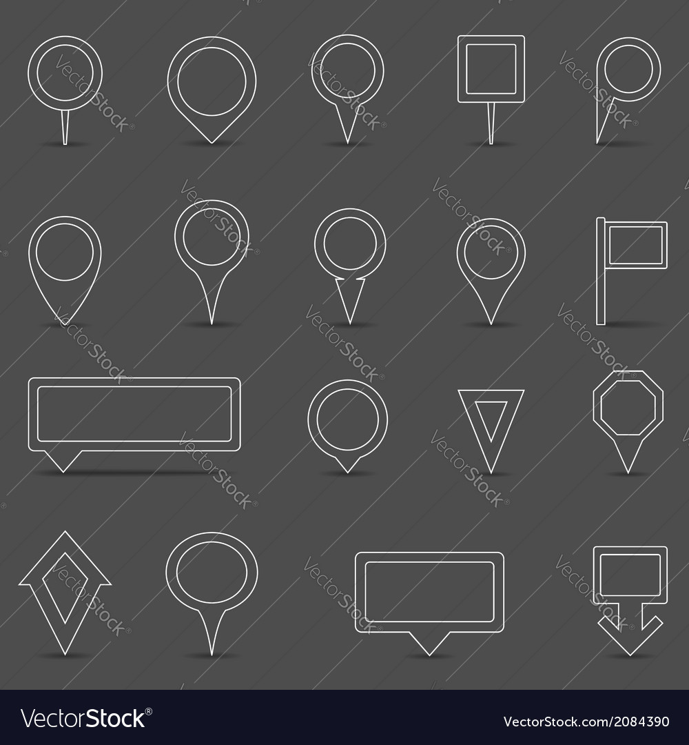 Flat line map markers vector | Price: 1 Credit (USD $1)