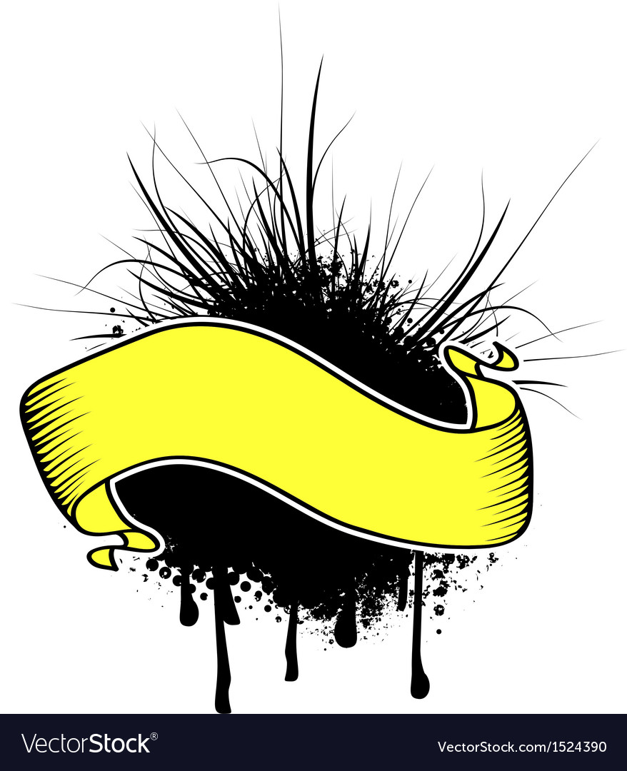 Grunge yellow ribbon banner vector   Price: 1 Credit (USD $1)
