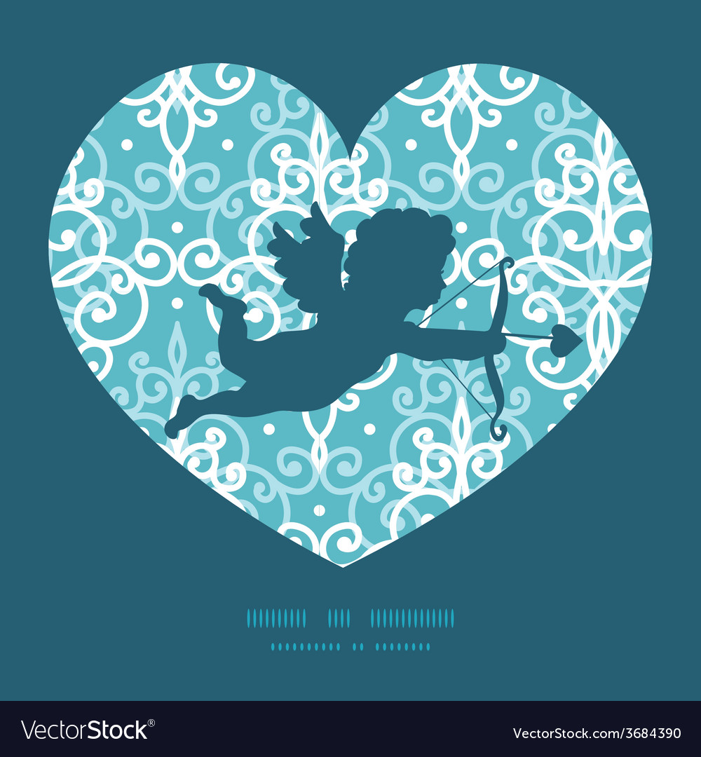 Light blue swirls damask shooting cupid silhouette vector | Price: 1 Credit (USD $1)