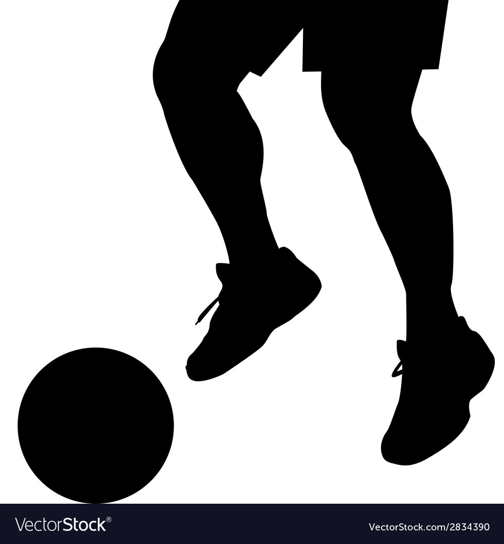 Man feet silhouette with ball vector | Price: 1 Credit (USD $1)
