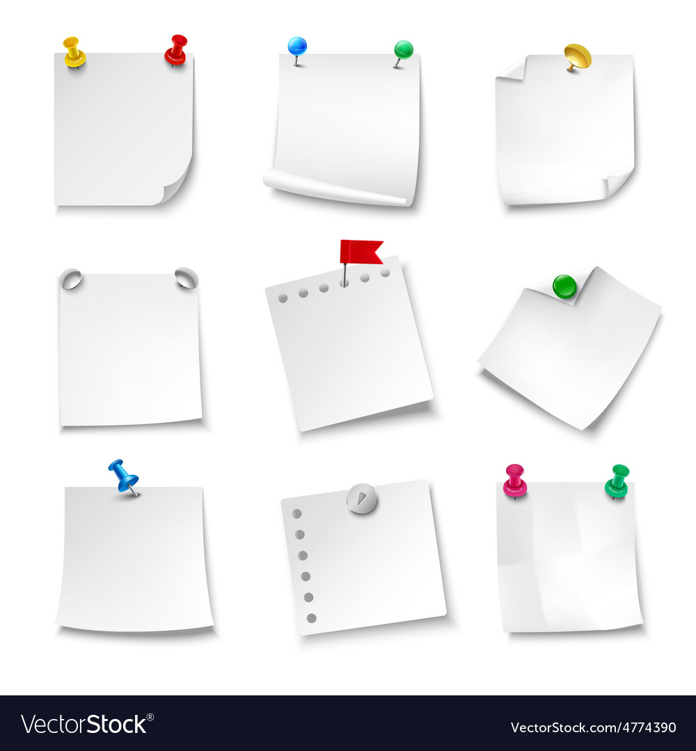 Note papers blank vector
