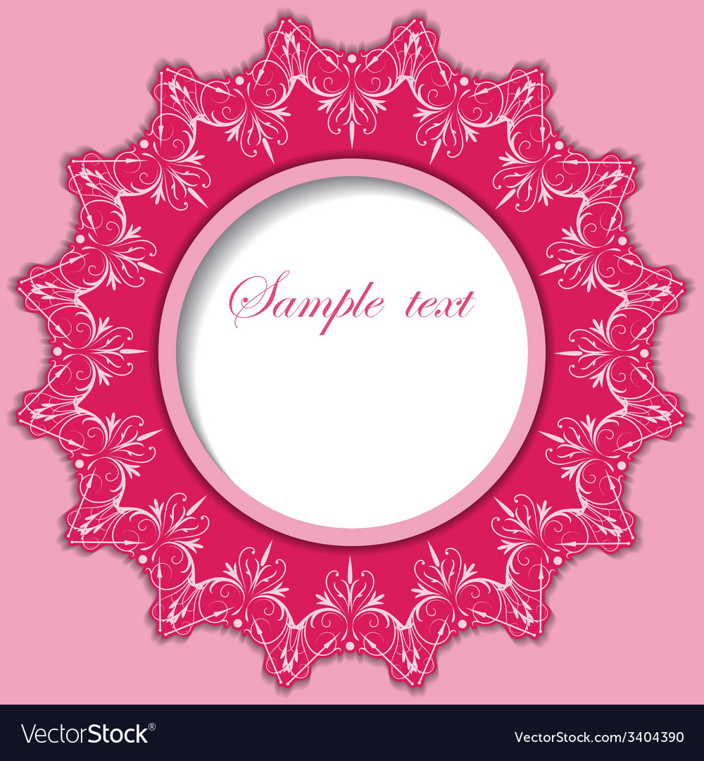 Paper round frame with lace pattern vector | Price: 1 Credit (USD $1)