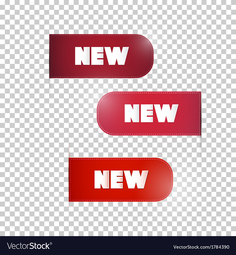 Red labels tags set with new title vector | Price: 1 Credit (USD $1)