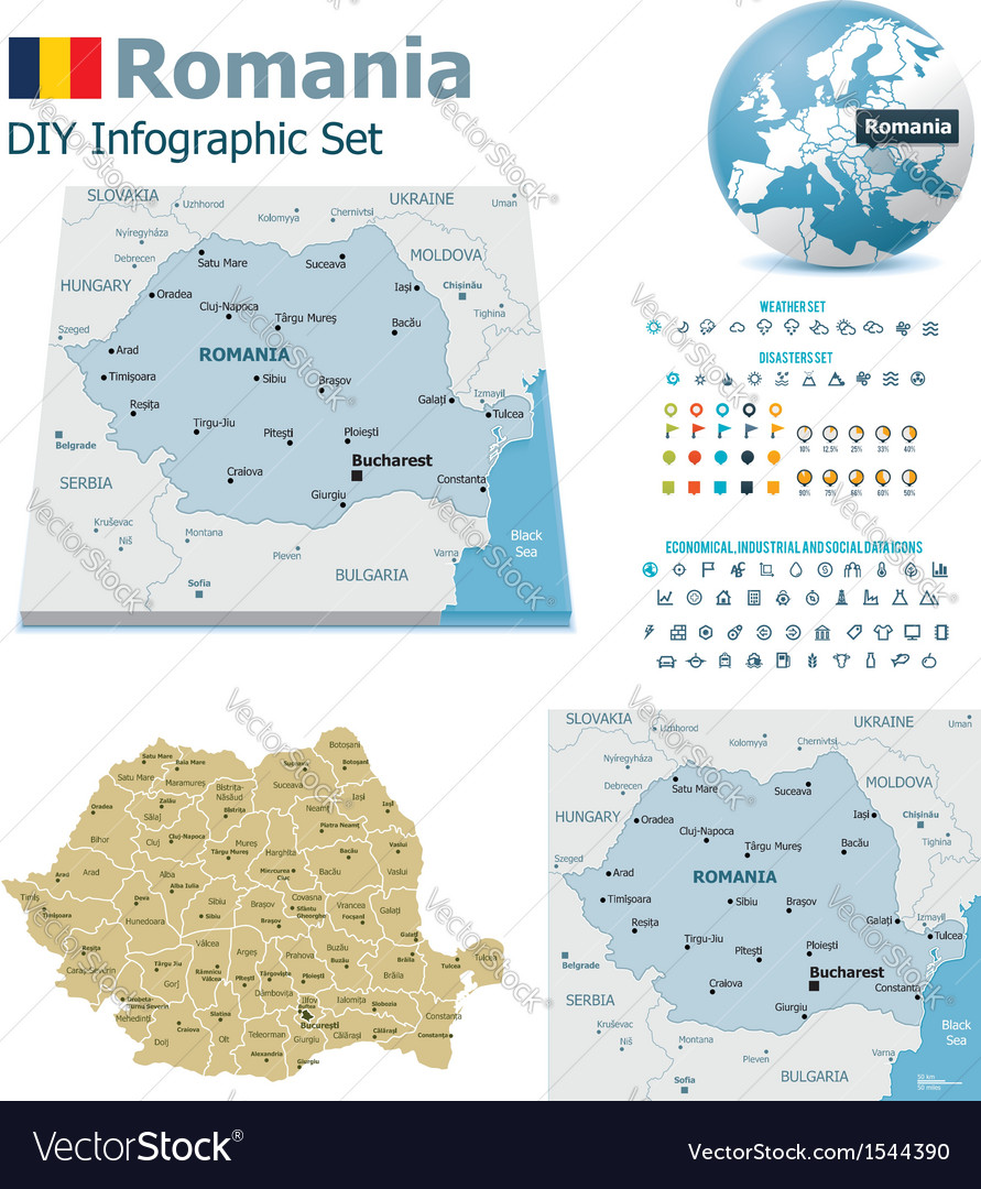 Romania maps with markers vector | Price: 3 Credit (USD $3)