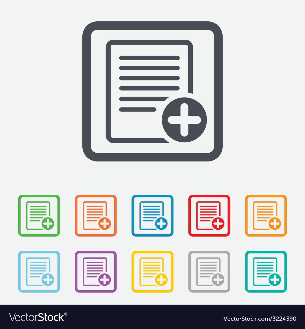 Text file sign icon add file document symbol vector | Price: 1 Credit (USD $1)