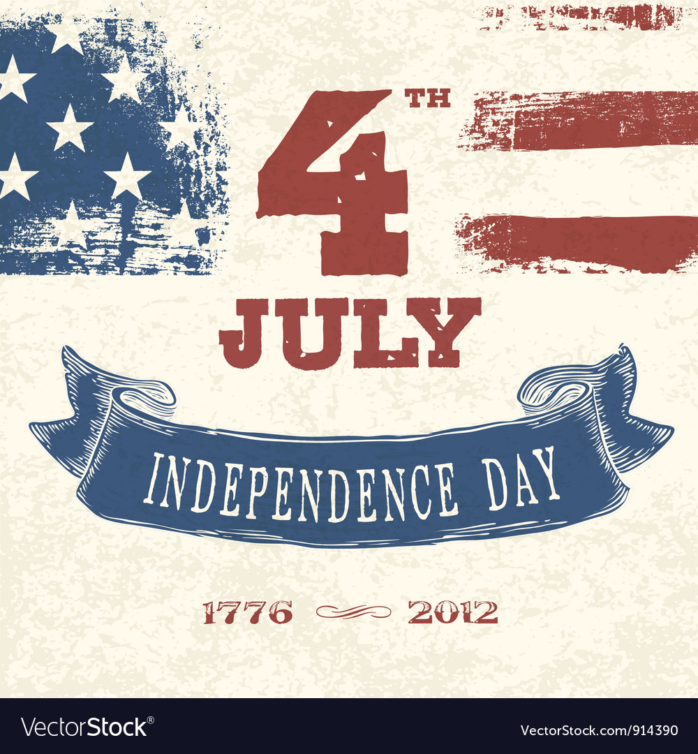 Vintage greeting card 4th july vector | Price: 1 Credit (USD $1)