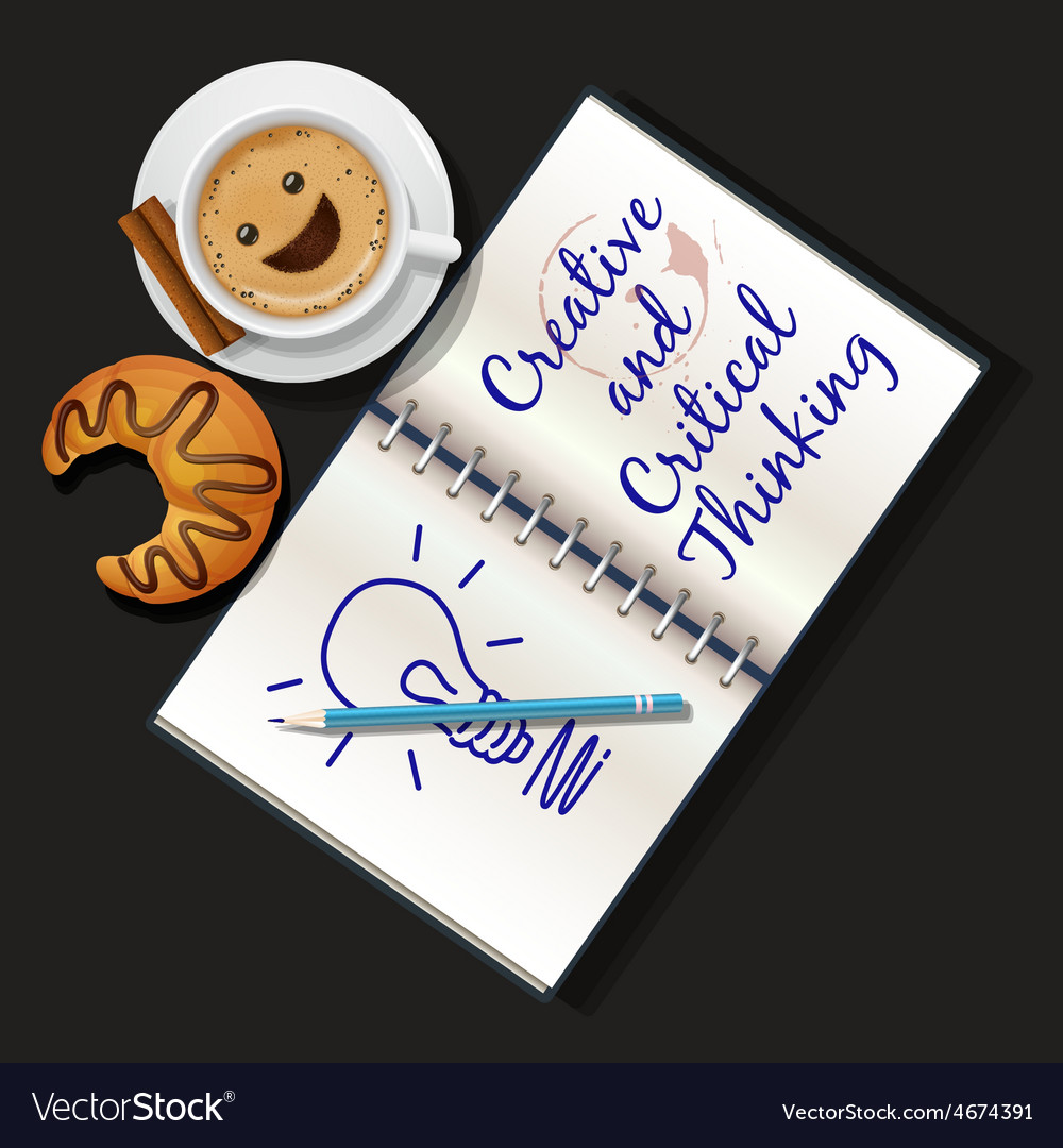 Booklet mug of cappuccino and croissant vector | Price: 1 Credit (USD $1)