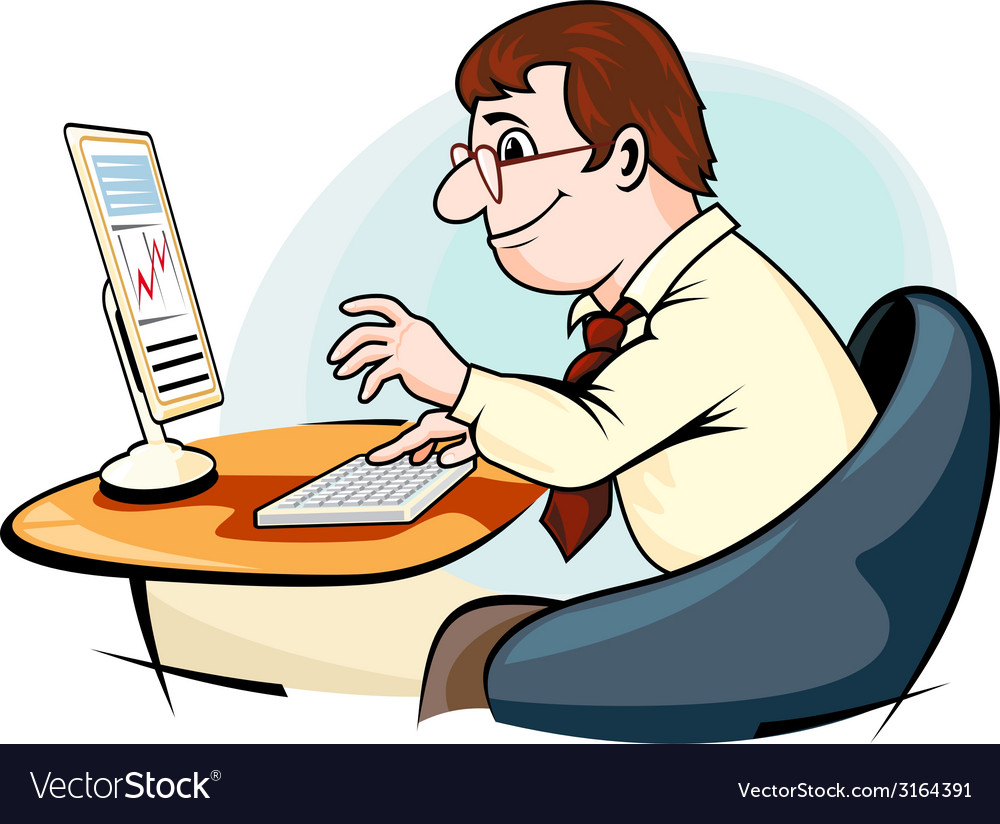 Businessman working on computer vector | Price: 1 Credit (USD $1)