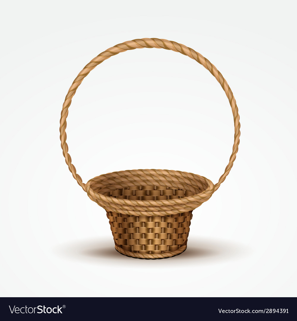 Empty wicker basket isolated vector | Price: 1 Credit (USD $1)