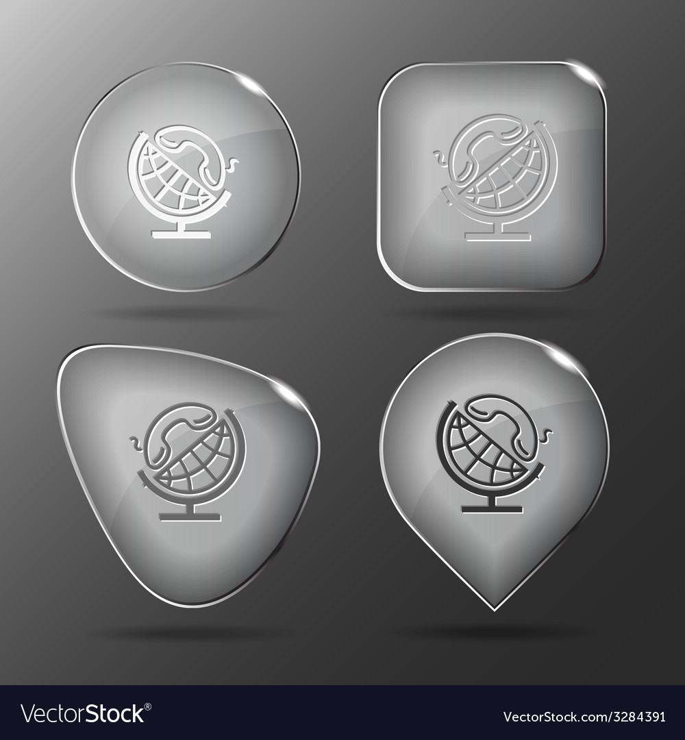 Globe and handset glass buttons vector | Price: 1 Credit (USD $1)