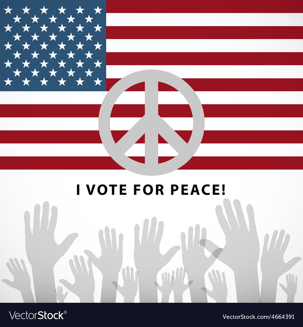 Long usa flag icon with peace sign vector | Price: 1 Credit (USD $1)