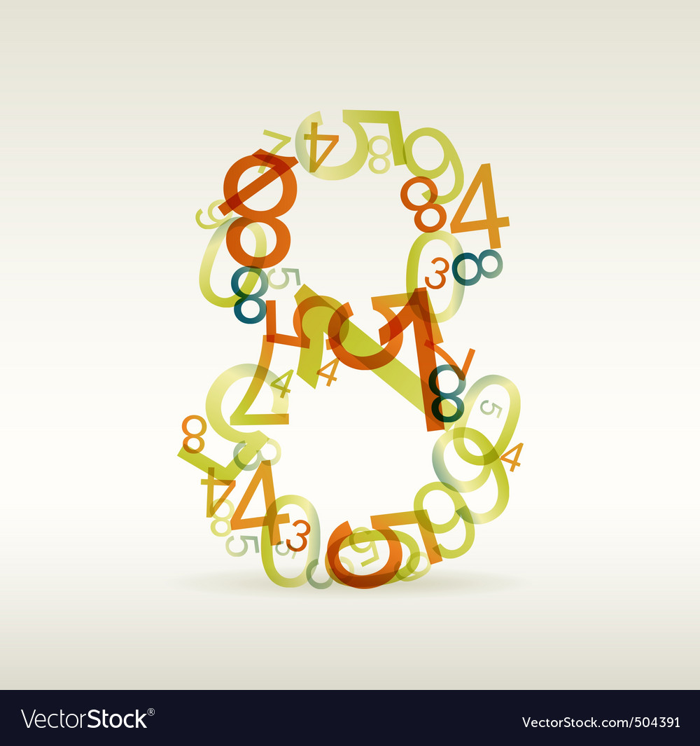 Number eight made from colorful numbers vector | Price: 1 Credit (USD $1)