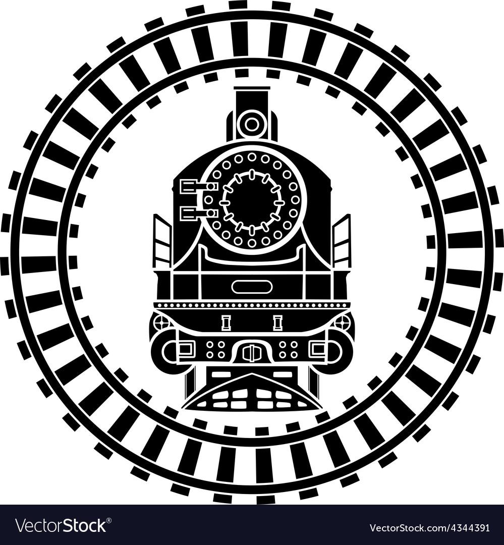 Old steam locomotive railway frame stencil vector   Price: 1 Credit (USD $1)
