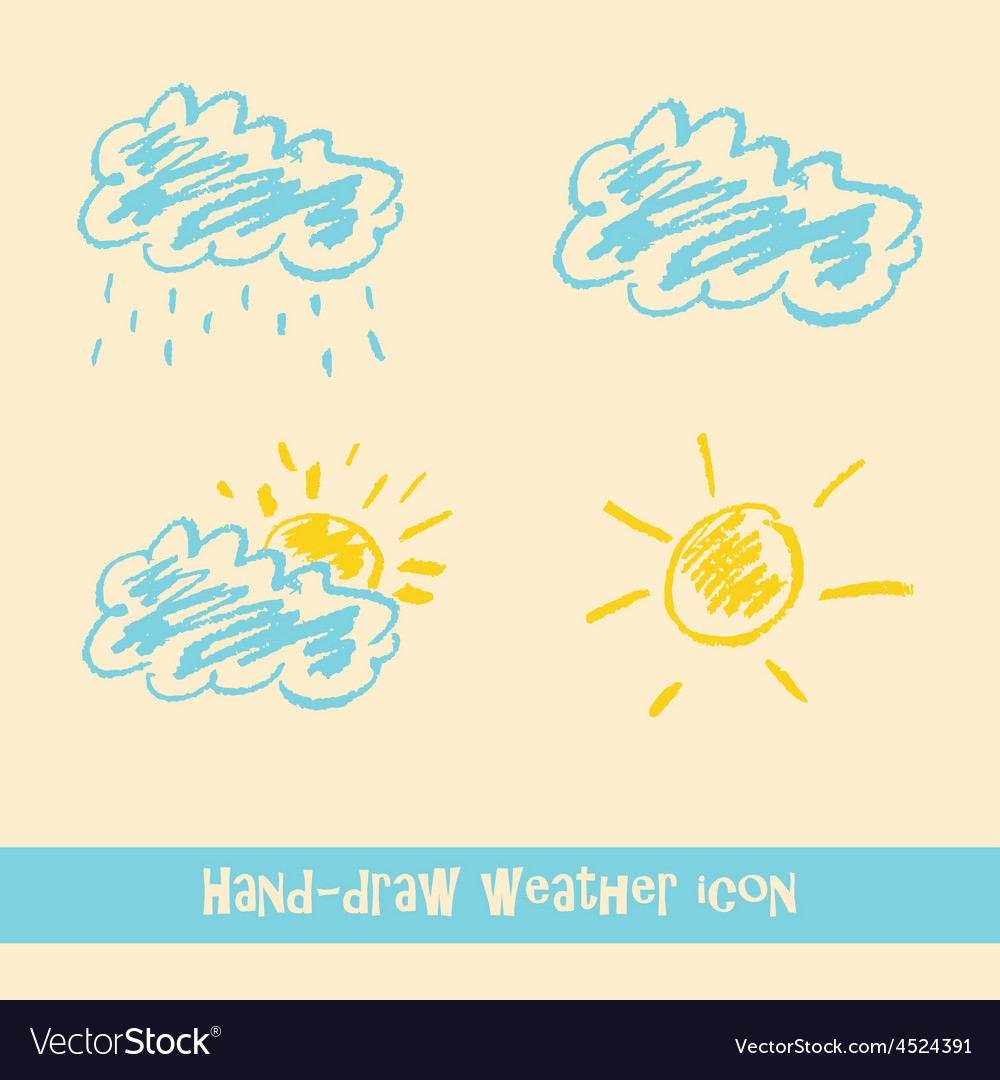 Pastel hand drawn doodle weather icons vector | Price: 1 Credit (USD $1)