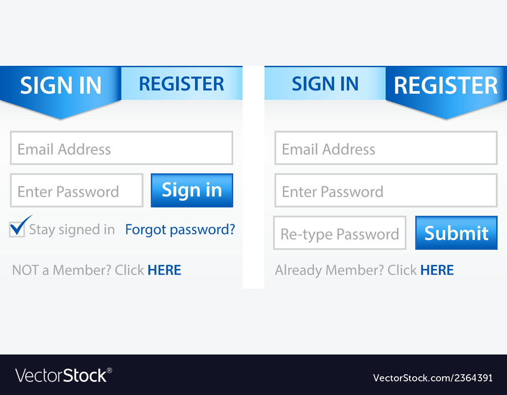 Register sign in forms with blue gradient header vector | Price: 1 Credit (USD $1)