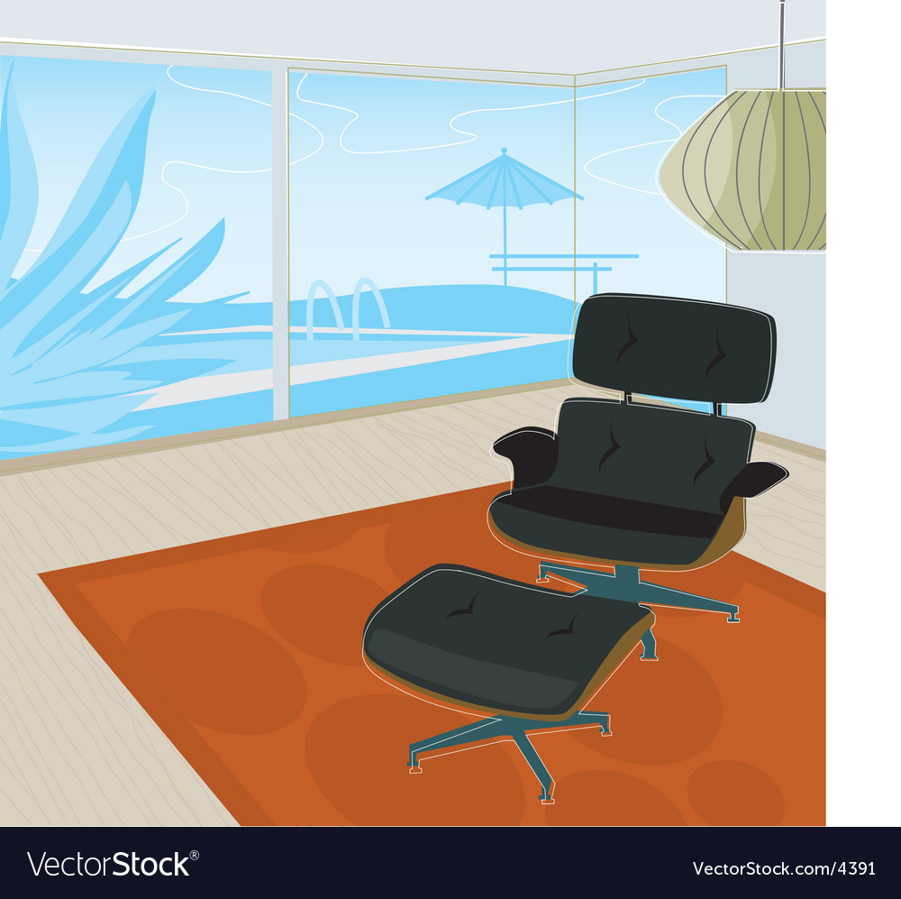 Retro home view of pool vector | Price: 3 Credit (USD $3)