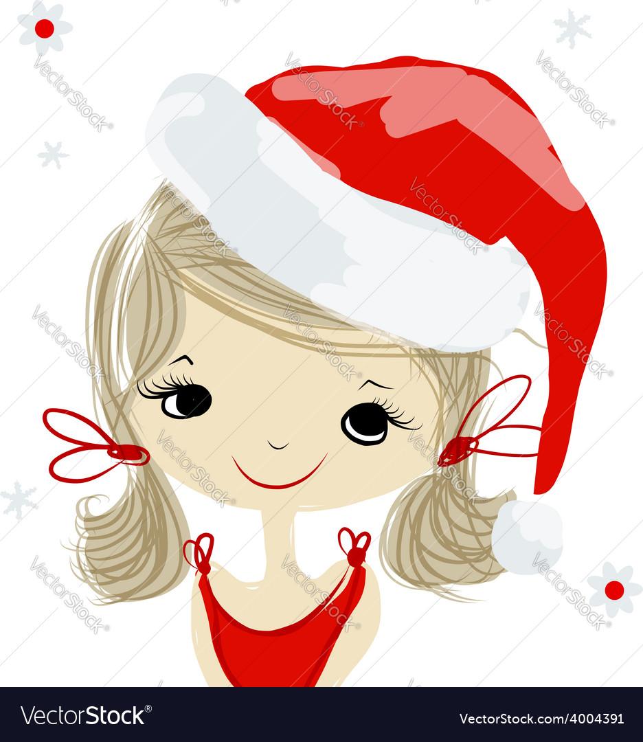 Santa girl portrait sketch for your design vector   Price: 1 Credit (USD $1)