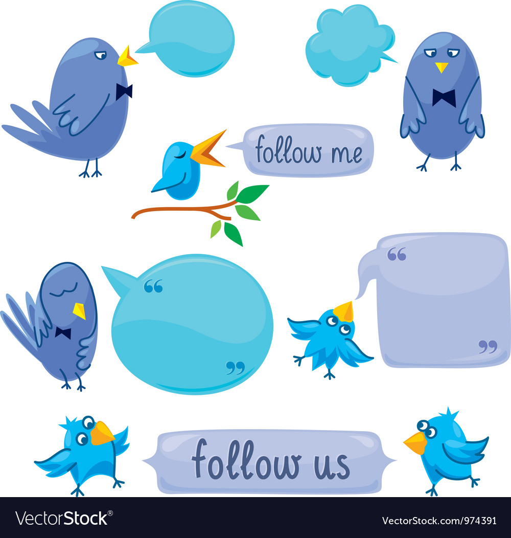 Set of blue birds with blobs vector | Price: 3 Credit (USD $3)