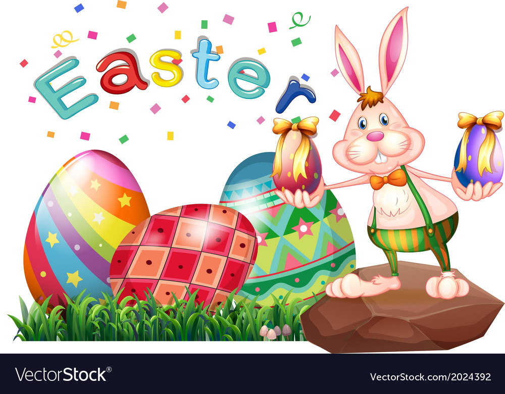 A bunny above the rock with easter eggs vector