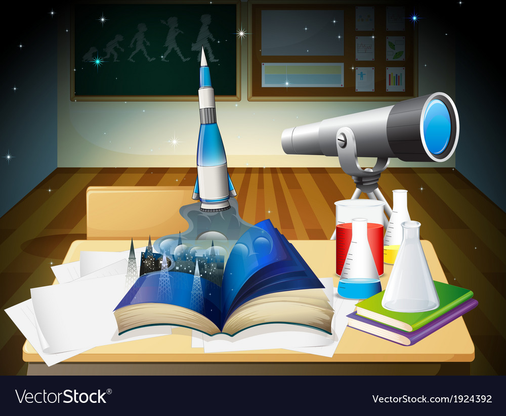A laboratory room with a book and laboratory vector | Price: 3 Credit (USD $3)