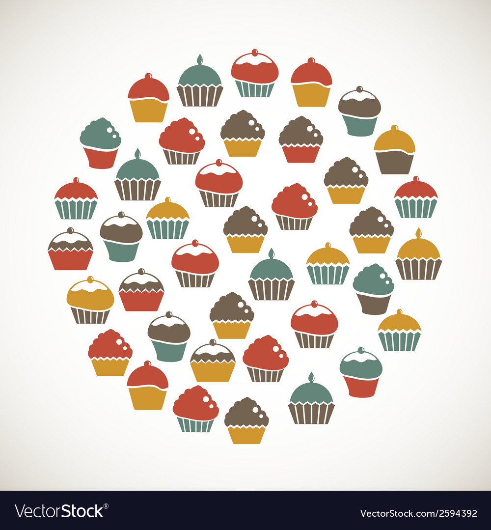 Colorful cupcakes icons vector | Price: 1 Credit (USD $1)
