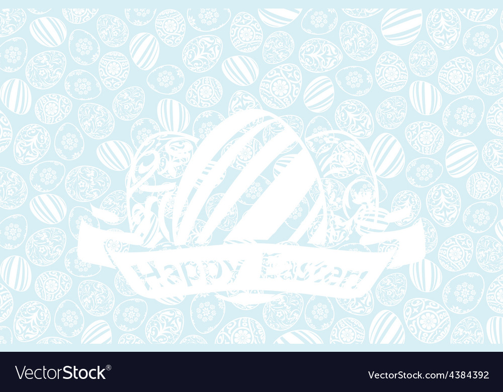 Easter holiday card with eggs and ribbon vector | Price: 1 Credit (USD $1)