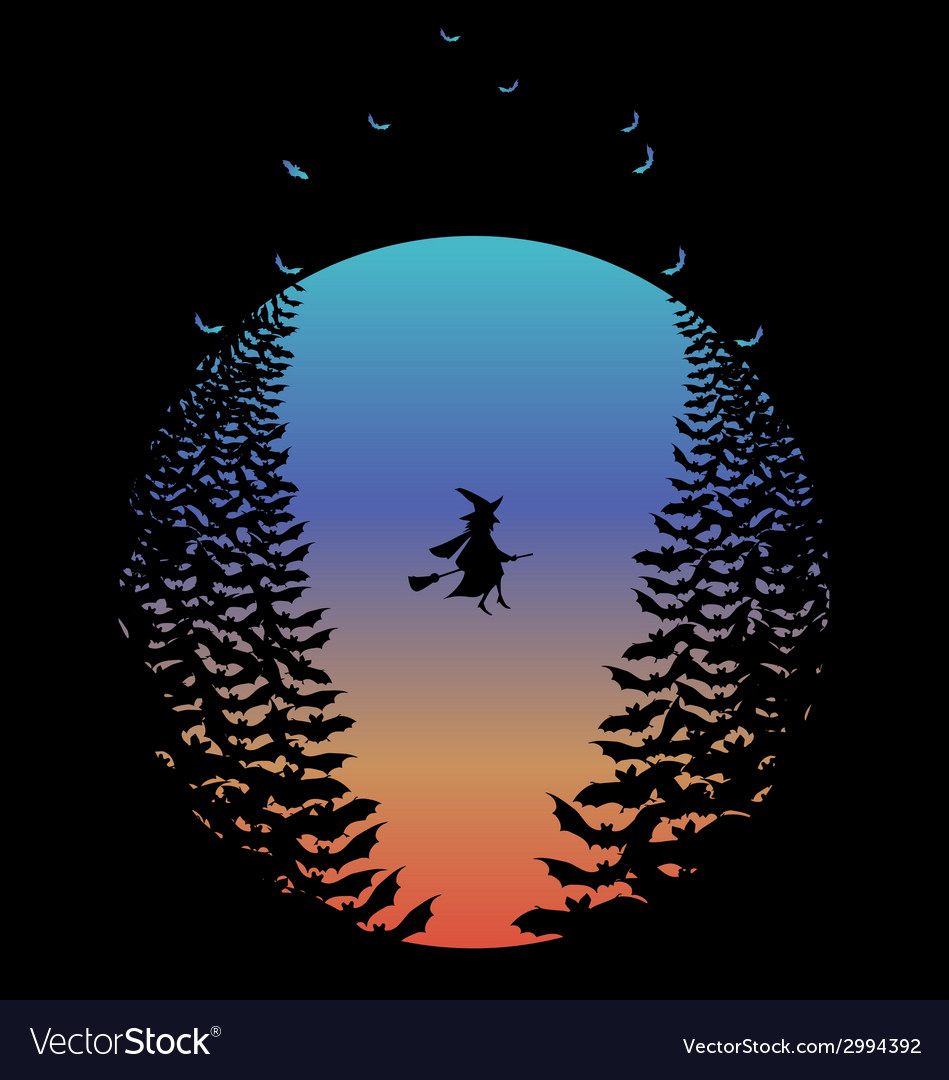 Halloween moon with witch and bats vector | Price: 1 Credit (USD $1)