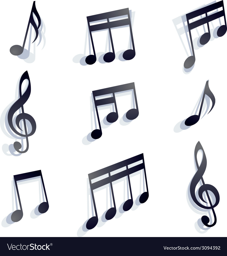 Musical notes set vector | Price: 1 Credit (USD $1)