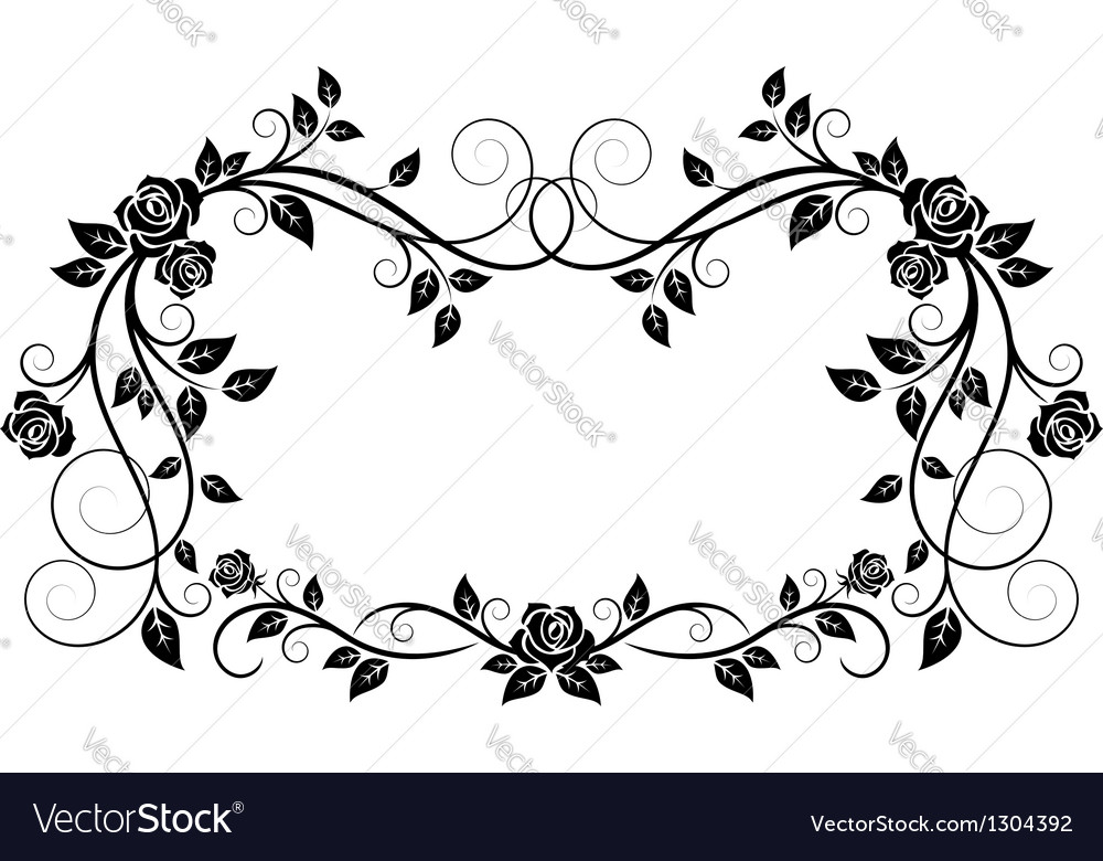 Ornamental frame with rose flowers vector