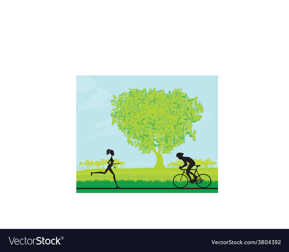 Silhouette of marathon runner and cyclist race in vector | Price: 1 Credit (USD $1)