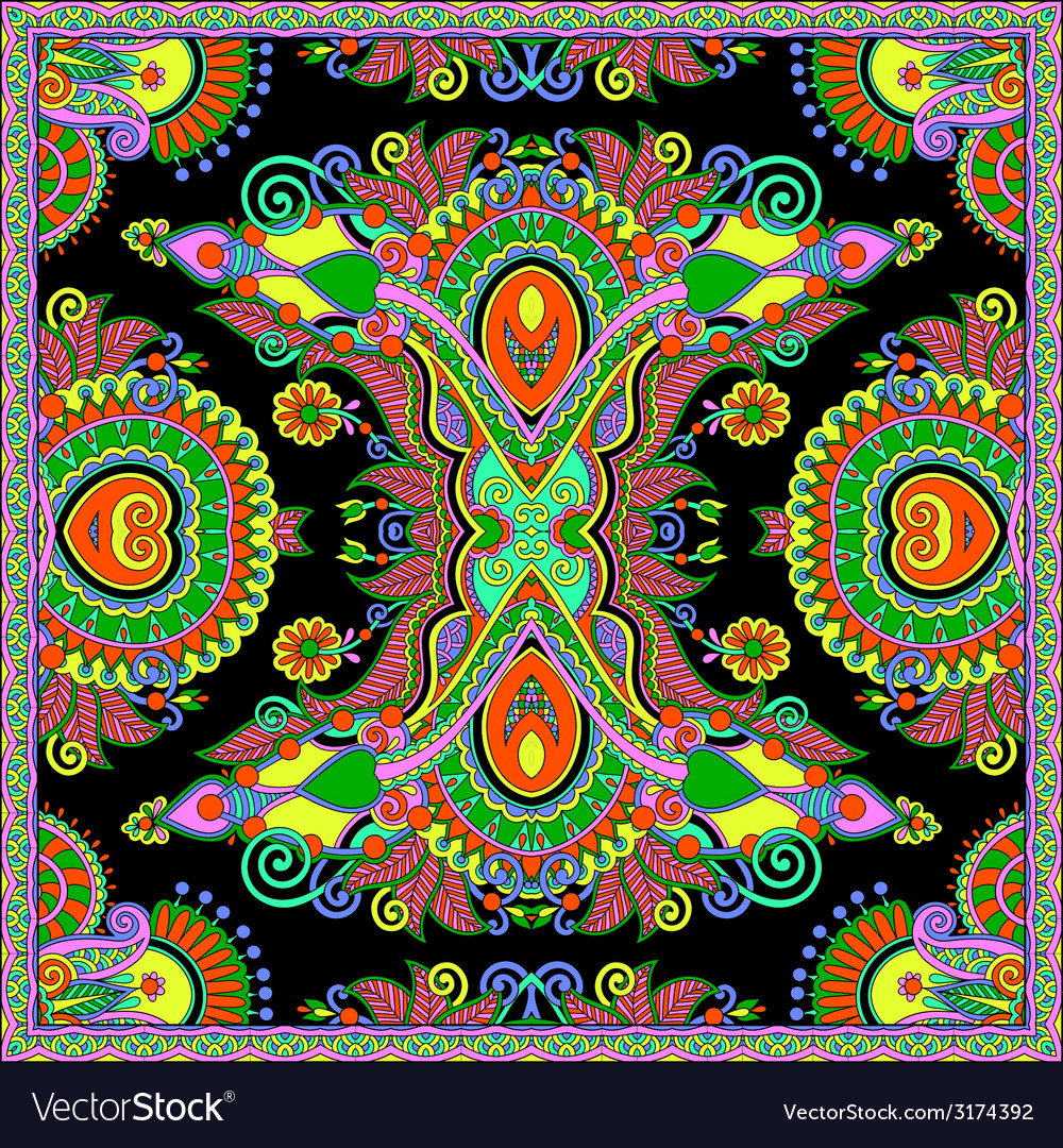 Silk neck scarf or kerchief square pattern design vector | Price: 1 Credit (USD $1)