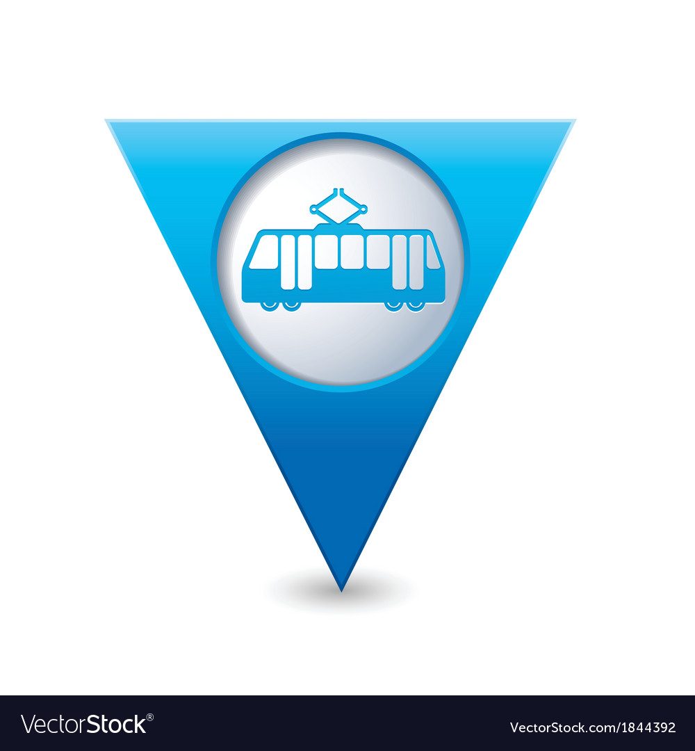 Tram icon map pointer blue vector | Price: 1 Credit (USD $1)
