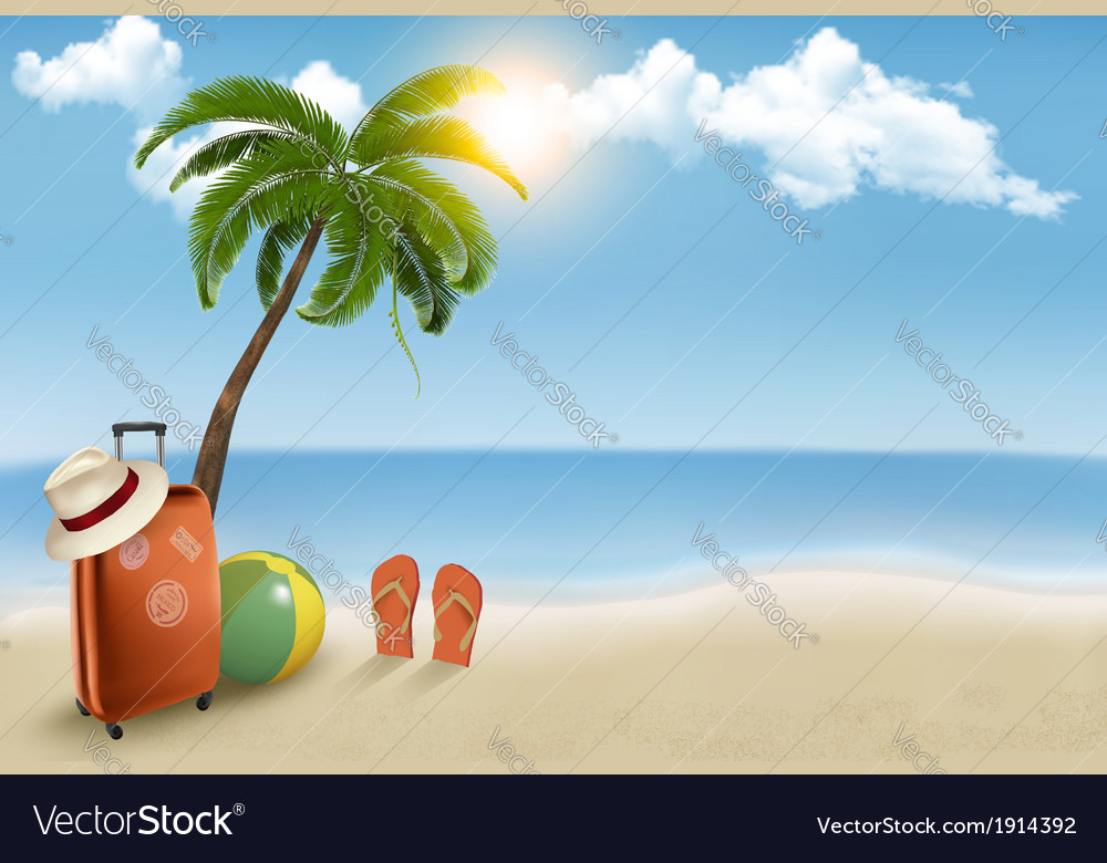 Vacation background beach with palm tree suitcase vector | Price: 3 Credit (USD $3)