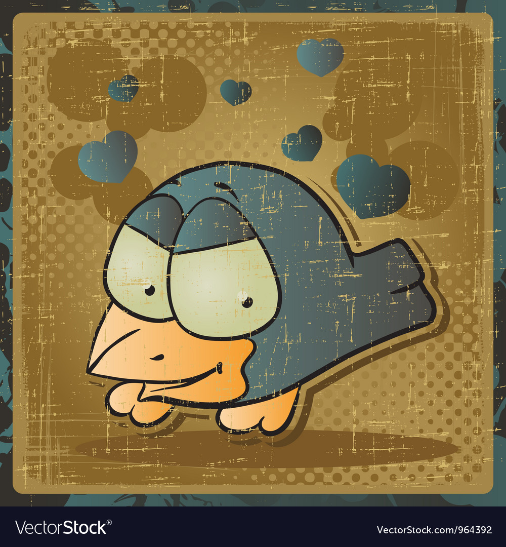 Vintage cartoon bird background vector | Price: 1 Credit (USD $1)