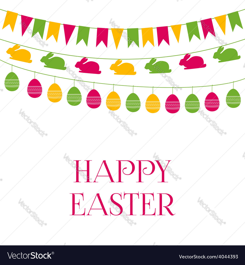Easter greeting card with garlands vector | Price: 1 Credit (USD $1)