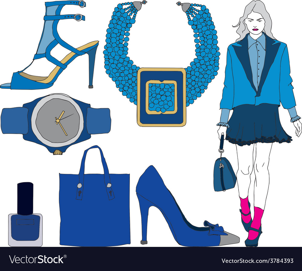 Fashion items on transparent background vector | Price: 1 Credit (USD $1)