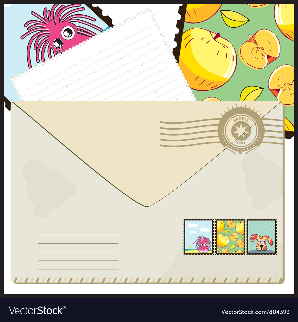 Mail with cartoon vector | Price: 1 Credit (USD $1)