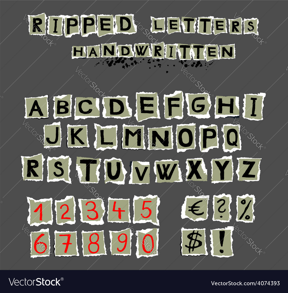 Ripped letters handwritten vector | Price: 1 Credit (USD $1)