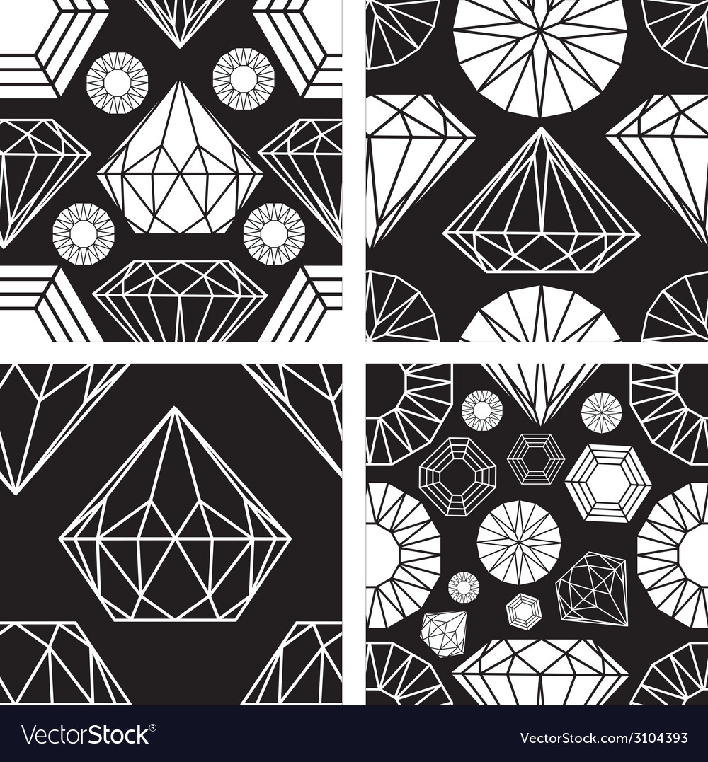 Seamless diamonds set 2 vector | Price: 1 Credit (USD $1)